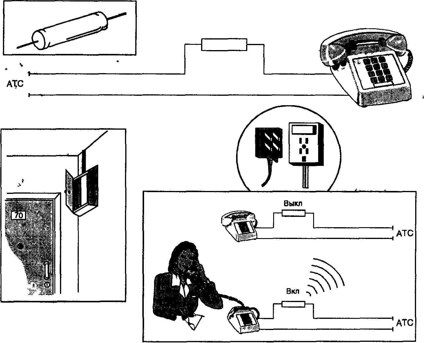 схема соединение телефонной линии к аппарату
